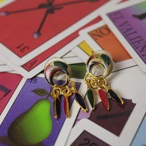 VTG 80s artisan enamel doorknock matte gold